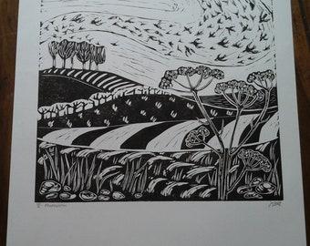 Murmuration. Original Lino Cut Print.
