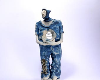 Sculpture, Figure, Ceramic figurine, Blue and white, Ceramic sculpture, Clay sculpture, Ceramics, Ceramics and pottery, Art, Gift for him