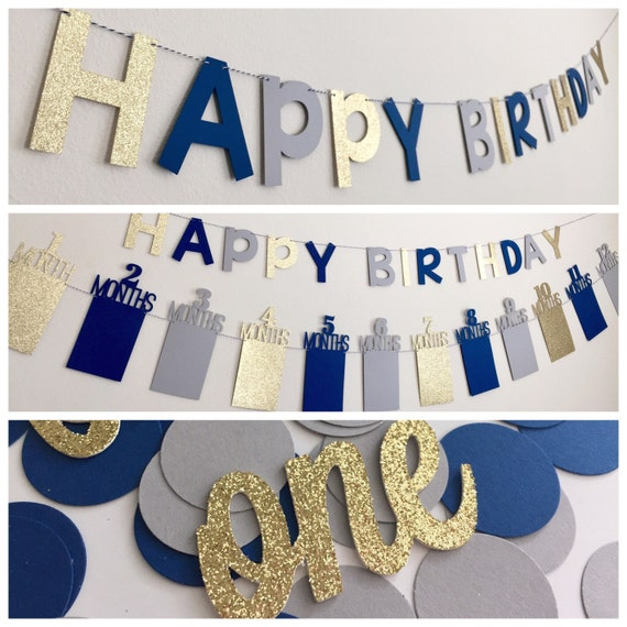 First Birthday Decorations Boy First Birthday Photo Banner