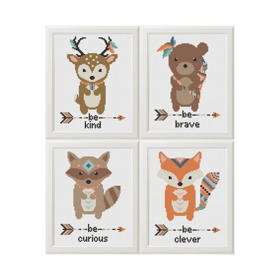 Animales Cruzar Puntada patrón zorro venado oso mapache