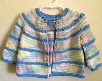 Vintage Toddler Girls 80's Cardigan Sweater, Pastel, Long Sleeve (18-24 mos)