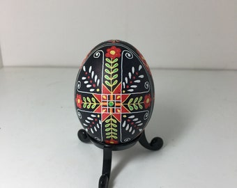 Black/Red/Orange/Yellow/Green Traditional Pysanky Chicken Egg