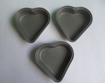 Heart Shape Miniature Cake Pans - lot of 3 Baking Pans  - Nonstick