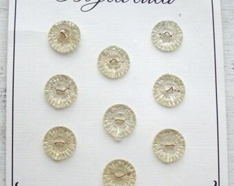 Vintage 1950's Translucent Carved Plastic Buttons (Card of 9)