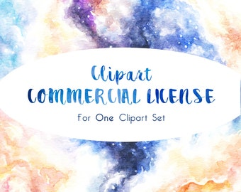 Commercial License for ONE Clipart Set   Small Business Use License for up to 500 Product Sales   No Credit