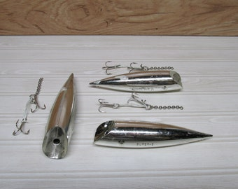 Lot of 3 Rattle J-Plug Trolling Lures/Super 5/The Big A/Salmon Fishing Lures
