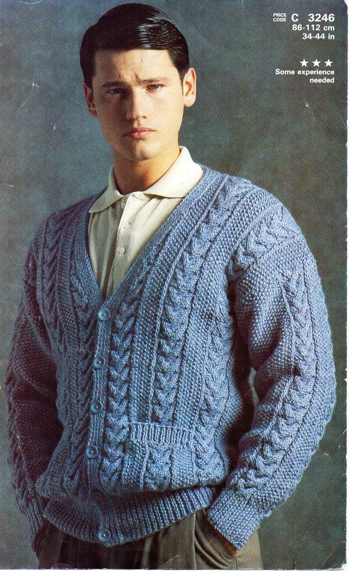 Mens Aran Cardigan Knitting Pattern Pdf Mens Cable Jacket V