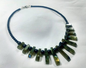 Natural labradorite and obsidian necklace