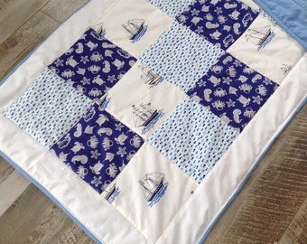 Personalized baby quilt boy , Baby boy quilt, Sailboat bedding, Personalized baby blanket nautical, Boy crib quilt, Homemade quilt for sale
