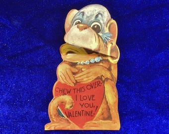 1940's Valentine Monkey Chewing Banana Card
