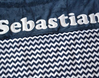Navy Chevron - Personalized Name Blanket - Baby shower - Baby gift - newborn