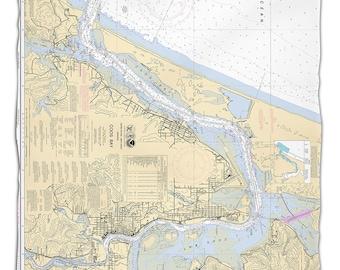 OR: Coos Bay, OR Nautical Chart Fleece Throw Blanket