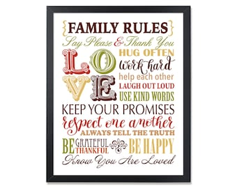 Wall Art Family Rules Sign Subway. House rules. PRINTABLE. Playroom print. Poster. Modern art decor. 8X10. Signs with Family Rules
