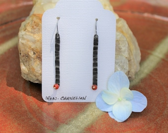 Forged Iron Textured Bar Earrings with Carnelian