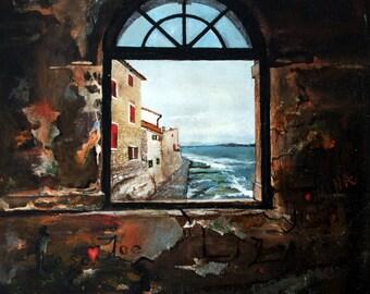 Authentic - Graffiti Love  - Oil on Canvas Grafiti love landscape seascape waves painting Croatia 66x50 cm