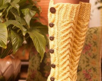 Hand-made, patterned leggings and buttons, leggings, cuffs for women, knitted boot, warm feet, accessory shoe, gift,