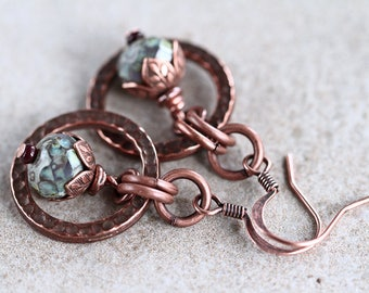 Small Hoop Dangles Earrings, Vintage Style, Bohemian Copper Earrings, Pastel Earrings, Rustic Copper Dangle earrings