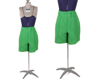1960s Green Polyester Textured High Waisted Shorts by Sears -L-XL