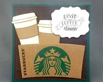 Handmade  Starbucks Coffee Card Green