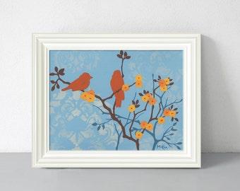 Bird Print, Cottage Home Decor