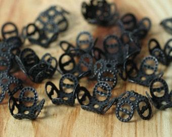 Black, blackened brass filigree bead cap 8mm, 36 pcs (item ID XMXH00108B)