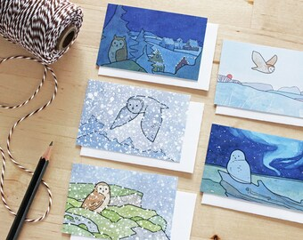 Holiday Gift Tag Set - Owl Art Mini Cards - Set of 5