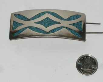 Hair Barrette Hair Clip Alpaca Silver Blue Turquoise Inlay Sothwestern Boho Jewelry Hair Accessories