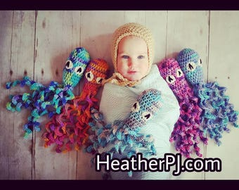 Ready to Mail, Crochet Octopus for Preemie Newborn Babies