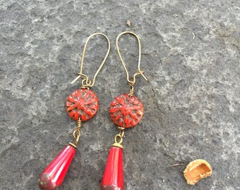 Red Dahlia and Teardrop Czech Glass Dangle Earrings \\  Red Drops \\  Whimsical Earrings \ Product ID: RDTD717 \\ Valentine Gift