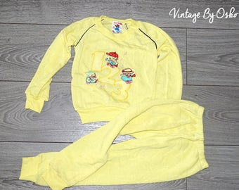 NEW Vintage Baby Trousers set,trouser suits,Costume, sets,  Pyjamas, Dates from the 1970s, Lemon, GANESNAN