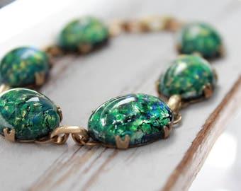 Opal Bracelet, Emerald Green Bracelet, Vintage Fire Opal Bracelet, Unique Jewelry, Glass Fire Opal Jewelry, Vintage Fire Opal Brace