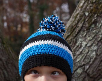 Crochet Panthers Inspired Hat, Adult beanie with pom