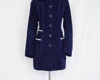 Vintage 70s Midnight Navy Blue Velvet Mod Squad Jacket mens womens small medium 8nzebbk