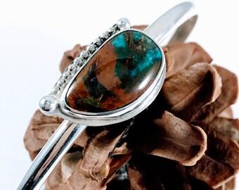 Peruvian Opal Cuff - Sterling Silver Cuff - Silver Cuff Bracelet - Peruvian Opal Bracelet - Cuff Opal Bracelet - Blue Opal Bracelet - Cuff