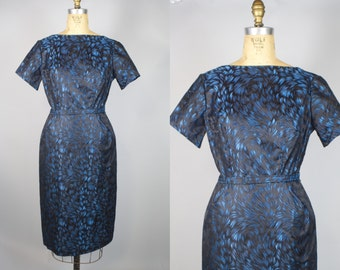 Night Sparks Dress & Jacket / 1950s Dress w/ Jacket Set / Blue Dress