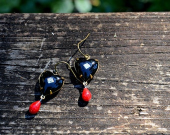 Black Heart Earrings black glass heart with rhinestone center with tiny red glass teardrop charm vintage jewelry assemblage