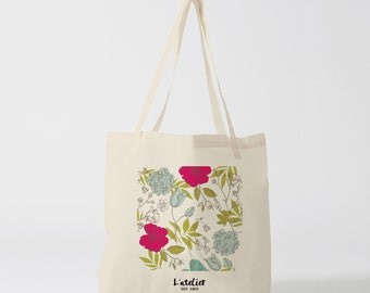 X190Y Tote bag classic flowers, cotton bag, beach bag, tote bag, computer bag, shopping bag, bag courses, shopping bag.