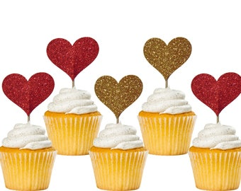 Heart Cupcake Toppers 12CT, Valentine's Day Decorations, Wedding Party Supplies, Glitter Red and Gold Hearts - No615