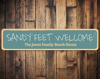 Sandy Feet Welcome Sign, Personalized Beach House Sign, Custom Family Name Sign, Family Beach House Decor - Quality Aluminum ENS1001324