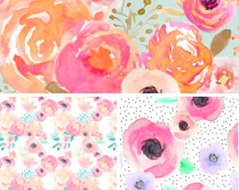 MORE FABRIC CHOICES - Indy Florals // Crib Sheets & More /Made To Order/Organic,Minky or Cotton:Fitted Crib Sheet/Changing Pad/Blanket/Skirt