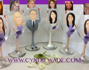 Bridesmaid Wine Glass  caricature cartoon painted