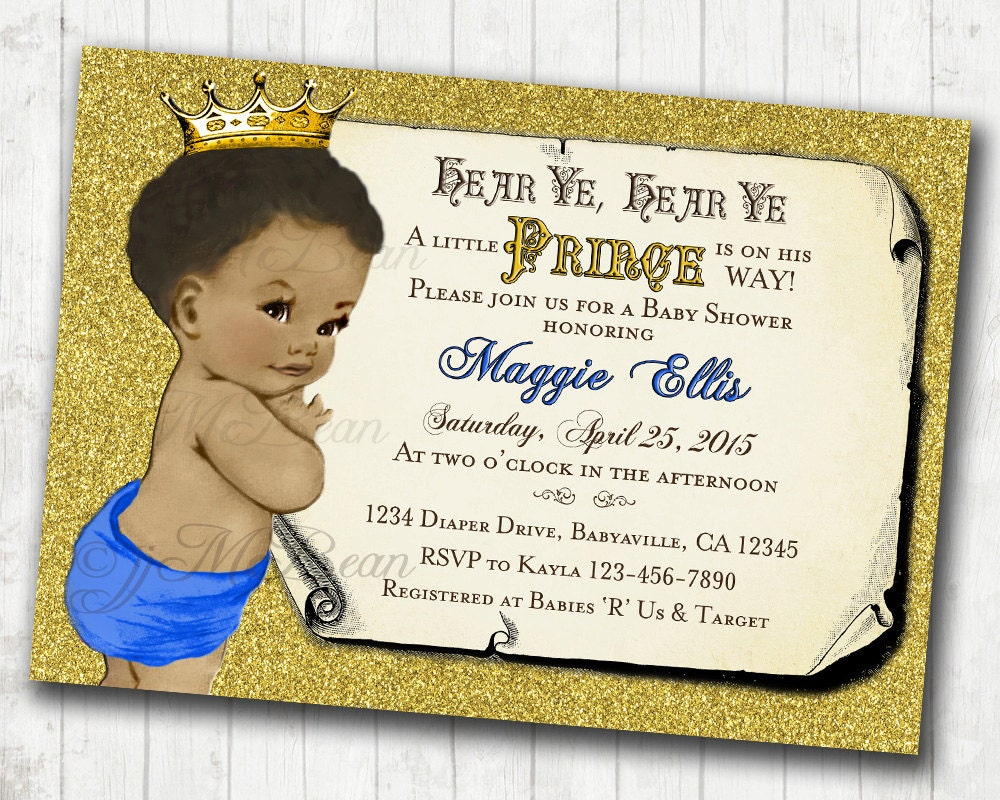 Prince Baby Shower Invitation African American Baby Shower