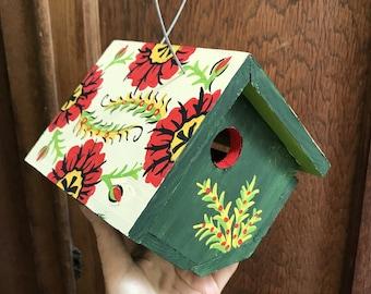 """Birdhouse Indoor-Outdoor Handpainted """"Poppy"""""""