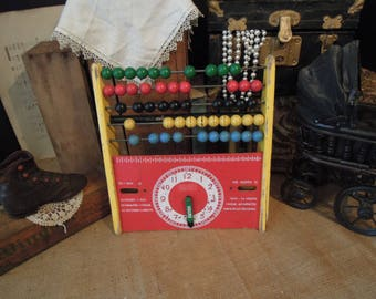 Vintage Child's Abacus / Vintage Learning Toy / Vintage Brio from Sweden Abacus & Clock Educational Toy