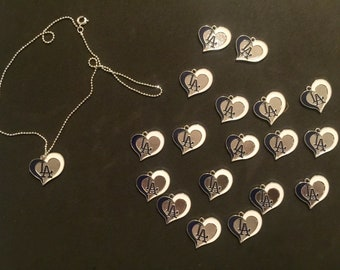 1 Dodgers heart charm with 18 inch chain