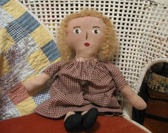 Primitive Folk Art Miss Dolly, OOAK, FAAP