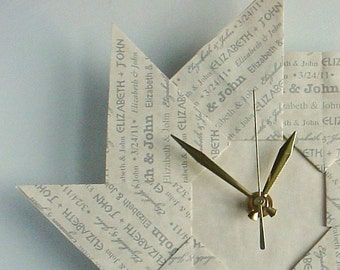 1 Year Anniversary Idea - Personalized Origami Clock - With Grey Type - Large
