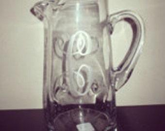 Custom Personalized Glass Pitcher