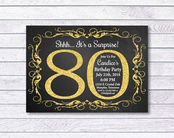 80th Birthday Invitation, 80th Birthday, 80th birthday for her, Shhh... It's a Surprise, Girl Birthday, Gold, chalkboard, Surprise