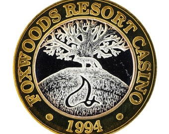 FINE SILVER 0.999 Large Foxwoods Resort Rhode Islands Casino Gaming Token  - Limited Edition !!